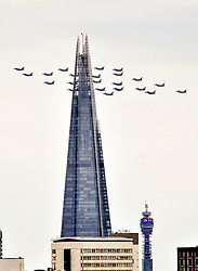 © Licensed to London News Pictures. 10/07/2018<br /> Greenwich, UK.<br /> Military aircraft flypast above London to celebrate the  centenary of the RAF, watch by crowds at Greenwich Park, Greenwich.<br /> Photo credit: Grant Falvey/LNP