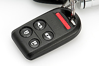 Close up of remote keyless entry car key.