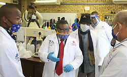 South Africa - Pretoria - 9 June 2020 - Minister of Higher Education Dr Blade Nzimande at a science lab where chemical engineering students are producing sanitizer during a visit to the Tshwane University of Technology Ga-Rankuwa campus to assess its state of readiness for the phased return of students to the university.<br /> Picture: Jacques Naude/African News Agency(ANA)