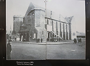 Public display of old historic images about the GWR works, Swindon, Wiltshire, England, UK exterior of Mechanics' Institute 1880s