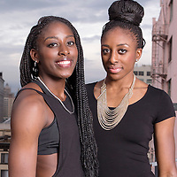 Nneka Ogwumike  and Chiney Ogwumike pose on a rooftop, in downtown Los Angeles, California, USA.