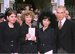 Left to right, MISS IVANA LOWELL, LINDY, MARCHIONESS OF DUFFERIN & AVA and MRS & MR JULIAN SANDS at a memorial service in London on 15th July 1998.MJC 47