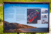 Wetlands interpretive sign at Prisonsers Harbor, Santa Cruz Island, Channel Islands National Park, California USA