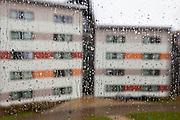 Rain drops running down a window. Reading, Berkshire.