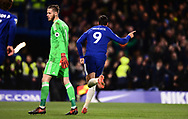 Alvora Morata of Chelsea celebrates after he scores Chelsea's 1st goal to make it 1-0 .Premier league match, Chelsea v Manchester United at Stamford Bridge in London on Sunday 5th November 2017.<br /> pic by Andrew Orchard sports photography.