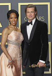 February 9, 2020, Hollywood, California, USA: Brad Pitt winner of Actor in a Supporting Role award for ''Once upon a Time in Hollywood,'' and Regina King pose in the press room of the 92nd Academy Awards on Sunday February 9, 2020 at the Dolby Theater in Hollywood, California. BURT HARRIS/BNS/PI (Credit Image: © Prensa Internacional via ZUMA Wire)