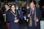 MAYOR OF HAMMERSMITH AND FULHAM: COUNCILLOR BELINDA DONOVAN; ANDREW MACDONALD, Art13 London First night, Olympia Grand Hall, London. 28 February 2013
