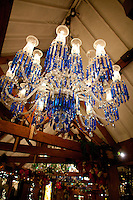 Blue chandelier in the Rafters Room at Tavern on the Green. .(Photo by Robert Caplin)...