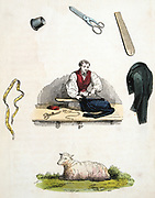 Tailor pressing a jacket on an ironing board.  Around him are some of the tools of his trade such as a thimble, measuring tape and scissors.  At the bottom is a sheep representing the wool from which cloth was made. From Reuben Rambles 'The Child's Treasury of Knowledge and Amusement', London, c1845