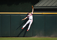 CHICAGO - JULY 28:  Adam Engel #15 of the Chicago White Sox leaps but cannot catch the ball against the Minnesota Twins on July 28, 2019 at Guaranteed Rate Field in Chicago, Illinois.  (Photo by Ron Vesely)  Subject:   Adam Engel