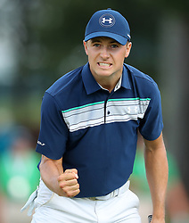 September 24, 2017 - Atlanta, GA, USA - Jordan Spieth pumps his fist after saving par on the 16th hole, but finishing second behind Justin Thomas for the FedEx Cup during the Tour Championship at East Lake Golf Club in Atlanta on Sunday, Sept. 24, 2017. (Credit Image: © Curtis Compton/TNS via ZUMA Wire)