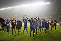 UEFA Europa League 2015: Celtic - Molde. Moldespillerne jubler etter Europa League kampen mellom Celtic og Molde på Celtic Park.
