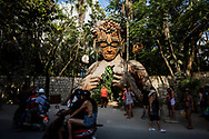 Tulum, Mexico - April 29, 2021: Ven a La Luz, or 'Come into the Light', a sculpture by South African artist Daniel Popper that is located at Ahau Tulum resort, is a popular photo stop for visitors in Tulum's beachside hotel zone.