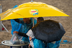 Courtcrew in action. The DELA NK Beach volleyball for men and women will be played in The Hague Beach Stadium on the beach of Scheveningen on 22 July 2020 in Zaandam.