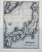 19th century map of Japan from the book ' Rambles in Japan : the land of the rising sun ' by Tristram, H. B. (Henry Baker), 1822-1906. Publication date 1895. Publisher New York : Revell