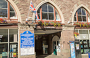 Entrance to Market Hall building, Abergavenny, Monmouthshire, South Wales, UK