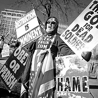 Shirley Phelps-Roper protesting in front of St. Mark's Episcopal Church in Salt Lake City.  She is the daughter of Pastor Fred Phelps and leading member of the Westboro Baptist Church. A lawyer, she is in charge of legal/logistical details for the WBC.