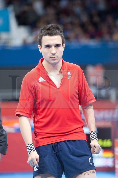 © London News Pictures. 02/09/2012. Excel Centre, Stratford, London. Will Bayley ParalympicsGB wins silver in the Men's Class 7 singles final in the table tennis in the Paralympic Games, Excel Centre, Stratford, London, UK.  Gold medal was won by Jochen Wollmaert from Germany. Photo credit should read Manu Palomeque/LNP