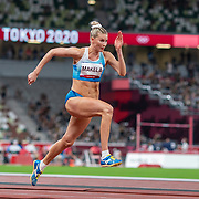 TOKYO, JAPAN August 1:     Kristiina Makela of Finland on the runway during the triple jump final in the Track and Field competition at the Olympic Stadium  at the Tokyo 2020 Summer Olympic Games on July 31, 2021 in Tokyo, Japan. (Photo by Tim Clayton/Corbis via Getty Images)