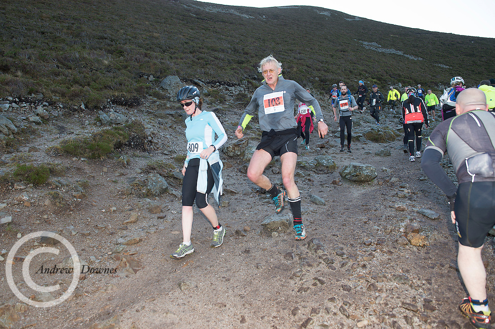 08/11/2014 repro free  Carol Barrett from Galway on Croagh Patrick  in the Sea 2 Summit adventure race in Westport Co. Mayo. Photo:Andrew Downes