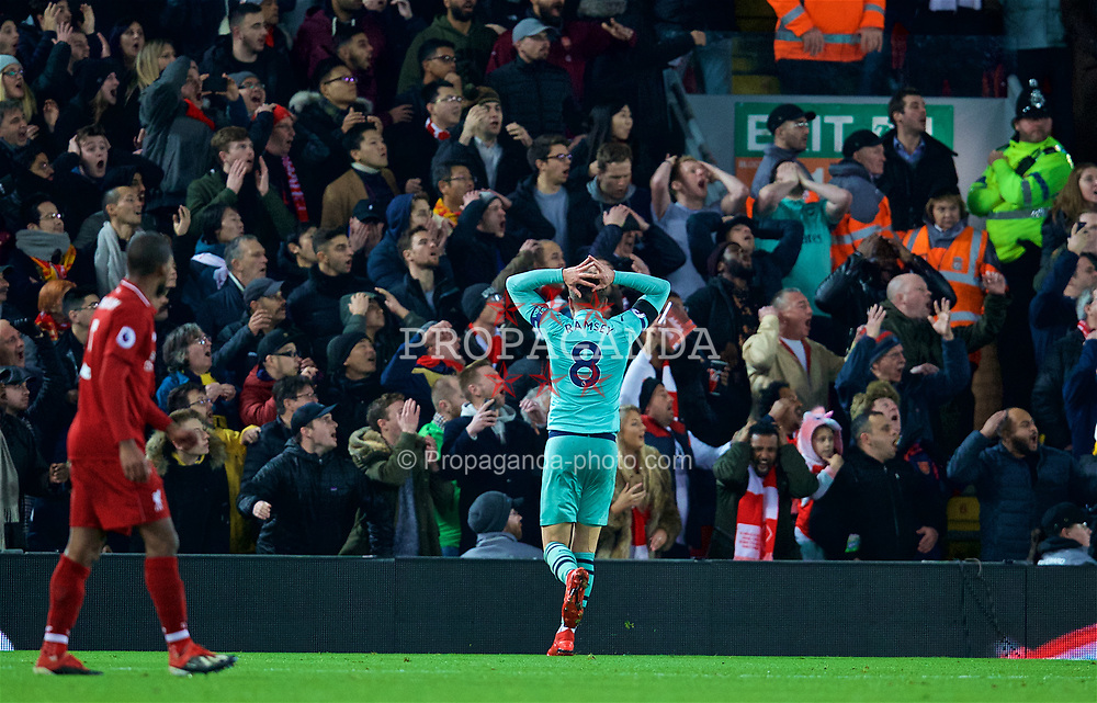 LIVERPOOL, ENGLAND - Saturday, December 29, 2018: Arsenal's Aaron Ramsey looks dejected after missing a chance during the FA Premier League match between Liverpool FC and Arsenal FC at Anfield. (Pic by David Rawcliffe/Propaganda)