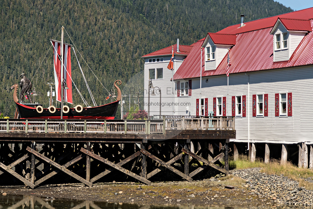 The Sons of Norway Hall Fedrelandet Lodge, Viking ship and Bojer Wikan Fishermens Memorial Park on Hammer Slough in Petersburg, Mitkof Island, Alaska. Petersburg settled by Norwegian immigrant Peter Buschmann is known as Little Norway due to the high percentage of people of Scandinavian origin.