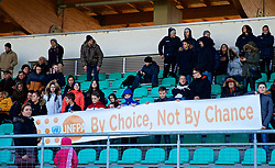 "ZENICA, BOSNIA AND HERZEGOVINA - Tuesday, November 28, 2017: Bosnia and Herzegovina supporters with a banner ""UNFPA By Choice, Not By Chance"" before the FIFA Women's World Cup 2019 Qualifying Round Group 1 match between Bosnia and Herzegovina and Wales at the FF BH Football Training Centre. (Pic by David Rawcliffe/Propaganda)"