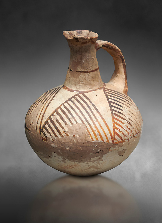 Cycladic ceramic jug with linear decoration. Cycladic II (2800-2300 BC) , Chalandriani, Syros. National Archaeological Museum Athens. Cat no 5147.   Gray background. .<br /> <br /> If you prefer to buy from our ALAMY PHOTO LIBRARY  Collection visit : https://www.alamy.com/portfolio/paul-williams-funkystock/cycladic-art-artefacts.html Type into the LOWER SEARCH WITHIN GALLERY box to refine search by adding background colour, place, museum etc<br /> <br /> Visit our CYCLADIC CIVILISATIONS PHOTO COLLECTIONS for more photos to download or buy as wall art prints https://funkystock.photoshelter.com/gallery-collection/Cycladic-civilisation-Ancient-Greek-Artefacts-art-Photos-Pictures-Images/C0000CmevVvnC.XU