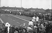 Santa at Crumlin Shopping Centre <br /> 27/11/1976<br /> 11/27/1976<br /> 27th November 1976 <br /> Crowds of children await the arrival of Santa Claus in the Crumlin Shopping Centre carpark.