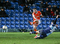 Blackpool's Oliver Turton shoots for goal despite the attentions of Wycombe Wanderers' Matthew Bloomfield<br /> <br /> Photographer Lee Parker/CameraSport<br /> <br /> The EFL Sky Bet League One - Wycombe Wanderers v Blackpool - Tuesday 28th January 2020 - Adams Park - Wycombe<br /> <br /> World Copyright © 2020 CameraSport. All rights reserved. 43 Linden Ave. Countesthorpe. Leicester. England. LE8 5PG - Tel: +44 (0) 116 277 4147 - admin@camerasport.com - www.camerasport.com