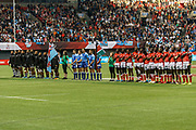VANCOUVER, BC - MARCH 11: Kenya and Fiji lined up for the anthems before Game # 45- Cup Final Fiji vs Kenya Cup Final match at the Canada Sevens held March 11, 2018 in BC Place Stadium in Vancouver, BC. (Photo by Allan Hamilton/Icon Sportswire)