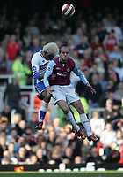 Photo: Lee Earle.<br /> West Ham United v Middlesbrough. The Barclays Premiership. 31/03/2007.Middlesbrough's Abel Xavier (L) clashes with Kepa Blanco.