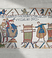 Bayeux Tapestry scene 23 :  In front of Duke William, Harold touches 2 reliqueries and swears fealty to Duke William. .<br /> <br /> If you prefer you can also buy from our ALAMY PHOTO LIBRARY  Collection visit : https://www.alamy.com/portfolio/paul-williams-funkystock/bayeux-tapestry-medieval-art.html  if you know the scene number you want enter BXY followed bt the scene no into the SEARCH WITHIN GALLERY box  i.e BYX 22 for scene 22)<br /> <br />  Visit our MEDIEVAL ART PHOTO COLLECTIONS for more   photos  to download or buy as prints https://funkystock.photoshelter.com/gallery-collection/Medieval-Middle-Ages-Art-Artefacts-Antiquities-Pictures-Images-of/C0000YpKXiAHnG2k