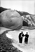 David Kirke and Mark Chamberlain, after the failute of the Midori Melonball ( the Bubble) to get to France due to adverse winds, Dover, 1987. <br /> DSC Archive Do not use without permission