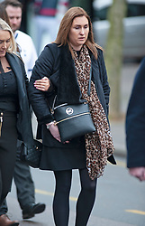 ©Licensed to London News Pictures 30/01/2020<br /> Orpington, UK. Mr Knott's fiancee Lucy Otto (R) walking behind the Funeral procession leaving from funeral directors Valentine and Turner in Orpington high Street,Kent. The Funeral of thirty three year old father-of-four and firefighter Anthony Knott from Orpington,Kent. His body was found in the water at Denton Island, Sussex three weeks after he went missing on a night out in Lewes, East Sussex in December 2019. Photo credit: Grant Falvey/LNP