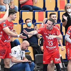 Jubel an der Bank der Eulen beim Spiel in der Handball Bundesliga, Die Eulen Ludwigshafen - Bergischer HC.<br /> <br /> Foto © PIX-Sportfotos *** Foto ist honorarpflichtig! *** Auf Anfrage in hoeherer Qualitaet/Aufloesung. Belegexemplar erbeten. Veroeffentlichung ausschliesslich fuer journalistisch-publizistische Zwecke. For editorial use only.