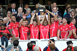 The Army team celebrate winning the match and the Babcock Trophy - Photo mandatory by-line: Patrick Khachfe/JMP - Mobile: 07966 386802 09/05/2015 - SPORT - RUGBY UNION - London - Twickenham Stadium - Army v Royal Navy - Babcock Trophy