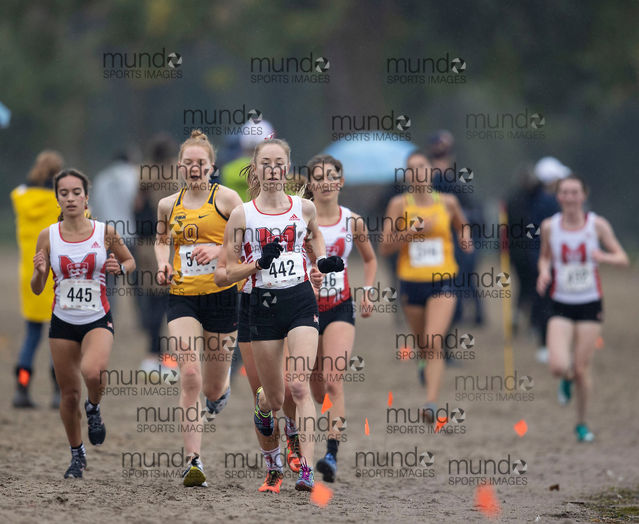 If you post on social media please tag @mundosportimages on Instagram or tag Mundo Sport Images on Facebook.<br /> <br /> (Ottawa, Canada---02 October 2021)  Sophie  Rashid-Cocker (McGill),  Charlotte  Langley (Queen's Gaels), and  Corinne  Leclerc (McGill) competing in the University Women's / Open Women's race at the  2021 Capital Cross Country Challenge held at Mooney's Bay in Ottawa.  Photograph 2021 Copyright Sean Burges / Mundo Sport Images