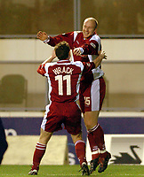 Picture: Henry Browne.<br />Date: 13/12/2003.<br />Wimbledon v Walsall Nationwide First Division.<br />Neil Emblen celebrates his goal for Walsall with Darren Wrack.