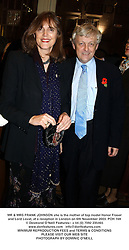 MR & MRS FRANK JOHNSON she is the mother of top model Honor Fraser and Lord Lovat, at a reception in London on 6th November 2003.POH 169