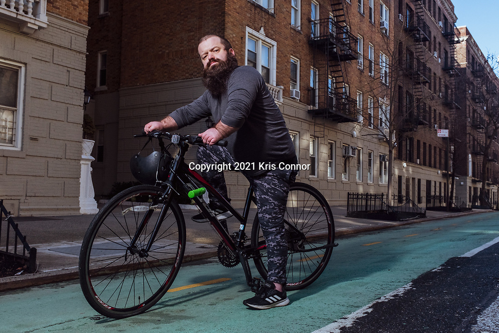Public Speaker Kris Connor is photographed on his Fuji bike in the Washington Heights neighborhood in New York City on January 4, 2021. Photo by Kris Connor.