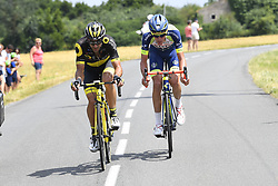 July 7, 2018 - Istra, Russie - COUSIN Jerome (FRA) of Direct Energie, OFFREDO Yoann (FRA) of Wanty - Groupe Gobert during stage 1 of the 105th edition of the 2018 Tour de France cycling race, a stage of 201 kms between Noirmoutier-en-l'Ile and Fontenay-Le-Comte on July 07, 2018 in Fontenay-Le-Comte, France, 7/07/2018  (Credit Image: © Panoramic via ZUMA Press)