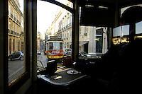 03 JAN 2006, LISBON/PORTUGAL:<br /> Waehrend einer Fahrt mit einer der fast historischen Strassenbahnen durch die alten Stadtteile der Stadt Lissabon<br /> During a ride with the old streetcars through the  historical districts of the city of Lisbon<br /> IMAGE: 20060103-01-00<br /> KEYWORDS: Lisboa, Reise, travel, Europa, europe, Strassenbahn, Straßenbahn, Fahrer, driver, Nahverkehr, Bahn, streetcar, tram, tramline