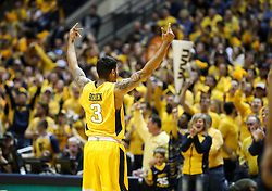 Jan 20, 2018; Morgantown, WV, USA; West Virginia Mountaineers guard James Bolden (3) celebrates with the crowd during the second half against the Texas Longhorns at WVU Coliseum. Mandatory Credit: Ben Queen-USA TODAY Sports
