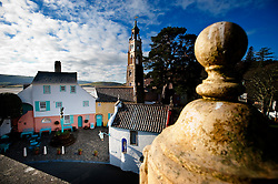 Battery Square viewed from The Dome Gallery in Portmeirion village, designed and built by Sir Clough Williams-Ellis, Gwynedd, Wales, UK