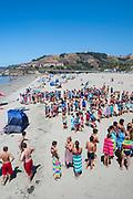 Lifeguard training at Avila Beach, California, USA.