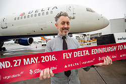 Alan Cumming, as Delta launches their year-round nonstop service from Edinburgh to New York-JFK today at Edinburgh Airport.
