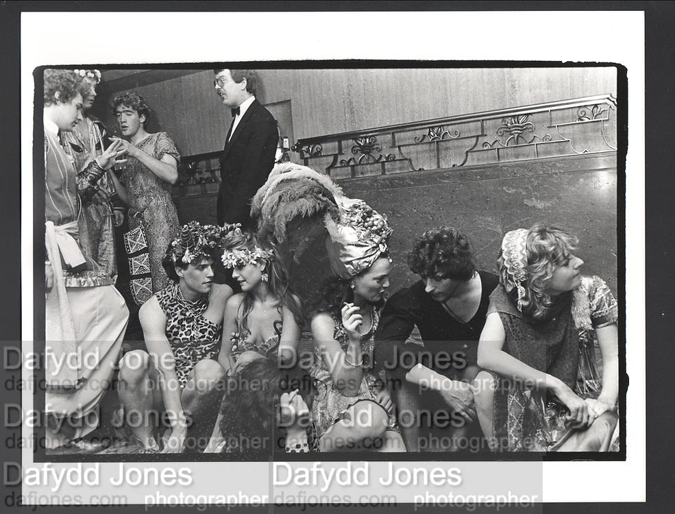 Hugh Grant, Marina Killery, Lulu Rivett-Carnac, Lord Neidpath and Catherine Guinness. Piers Gaveston Ball. Park Lane Hotel London. 13 May 1983 .. Exhibition in a Box