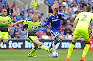 Cardiff City's Anthony Pilkington (blue) takes on Reading's Paul McShane. EFL Skybet championship match, Cardiff city v Reading at the Cardiff city stadium in Cardiff, South Wales on Saturday 27th August 2016.<br /> pic by Carl Robertson, Andrew Orchard sports photography.