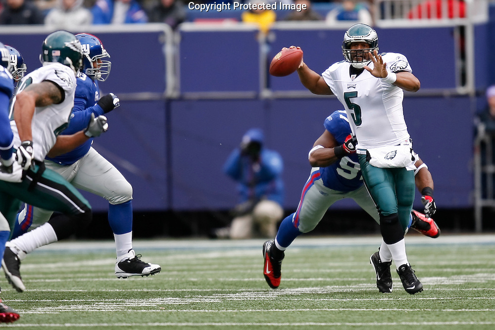 7 Dec 2008: Philadelphia Eagles quarterback Donovan McNabb #5 throws the ball during the game against the New York Giants on December 7th, 2008. The Eagles won 20-14 at Giants Stadium in East Rutherford, New Jersey.